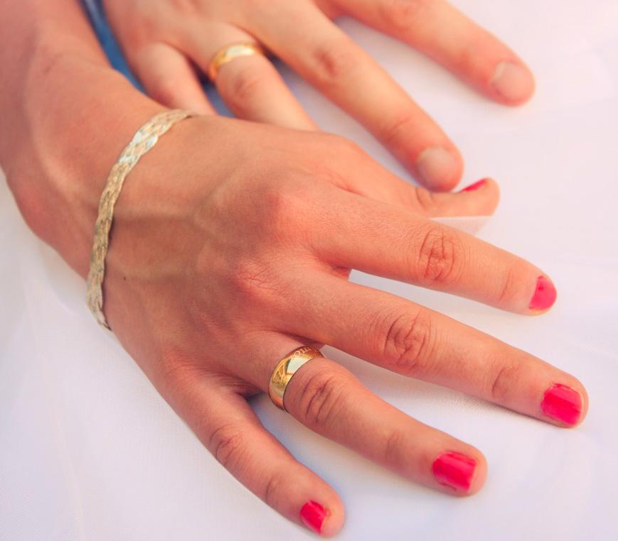 dłonie zakochanych, obrączki, sesja ślubna